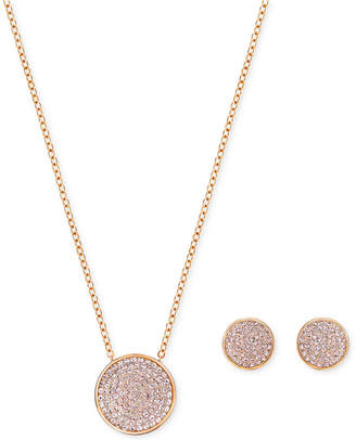 "Swarovski 15"" Pavé Disc Pendant Necklace and Matching Stud Earrings Set $129 thestylecure.com"