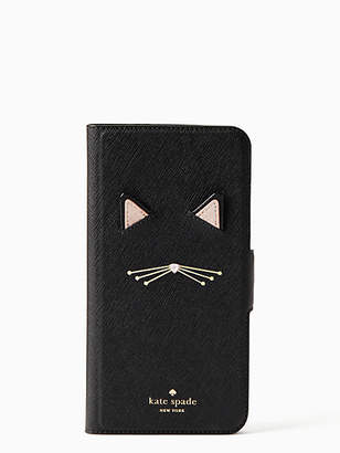 Kate Spade Cat applique iPhone 7 & 8 plus folio case