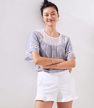 LOFT Ruffle Hem Shorts