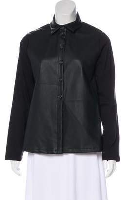 Maria Calderara Faux Leather-Paneled Top