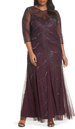 Adrianna Papell Deco Beaded Godet Gown