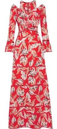 Sachin + Babi Mina Cold-Shoulder Ruffled Printed Silk Gown