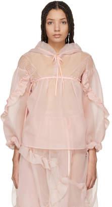 Renli Su Pink Ruffled Sleeve Hoodie