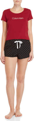 Calvin Klein Two-Piece Logo Printed Pajama Set