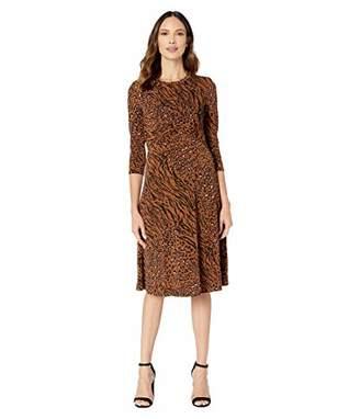 Donna Morgan Women's Long Sleeve Criss Cross Front Animal Printed Jersey Dress