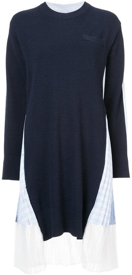 Sacai pleated knitted dress