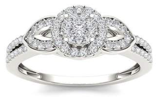 Imperial Star 3/8Ct TDW Diamond 10K White Gold Cluster Halo Engagement Ring