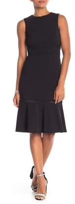 Modern American Designer Lace Trim Midi Dress