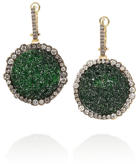 Kimberly McDonald 18-karat blackened gold, uvarovite garnet and diamond earrings