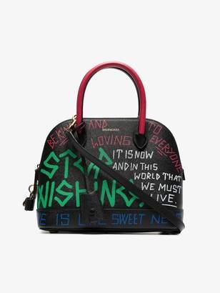 Balenciaga multicoloured Ville graffiti leather bowling bag