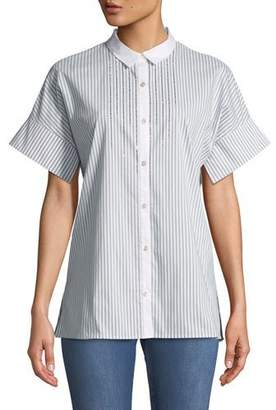 St. John Short-Sleeve Striped Button-Down Shirt with Sequin Detail
