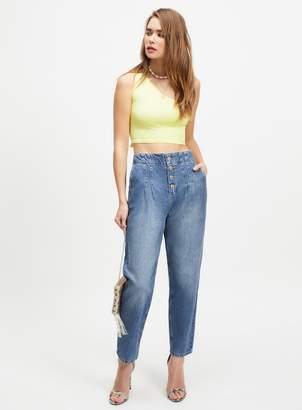Miss Selfridge MOM High Waist Denim Button Fly Jeans