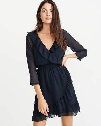 Abercrombie & Fitch Wrap-Front Ruffle Dress