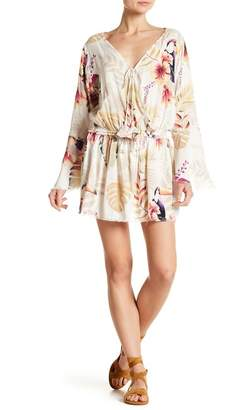 Z&L Europe Bell Sleeve Floral Patterned Mini Dress