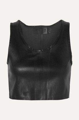 SPRWMN - Cropped Leather Top - Black