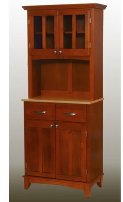 Home Styles Small Buffet With Two Glass Door Hutch Cottage Oak Natural Top