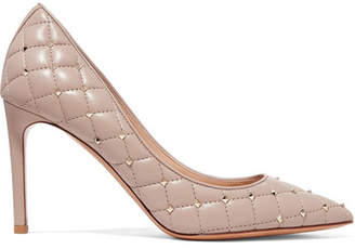Valentino Garavani The Rockstud Quilted Leather Pumps - Antique rose