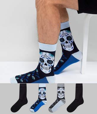 Jack and Jones Skull Print & Plain Socks In 4 Pack