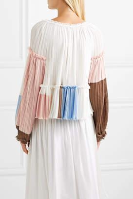 3.1 Phillip Lim Pleated Color-block Crepe Blouse - White