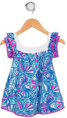 Lilly Pulitzer Girls' Printed Eyelet-Accented Dress