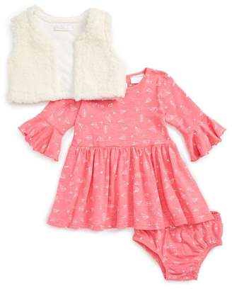 Rosie Pope Airplane Notes Print Dress & Faux Fur Vest Set (Baby Girls)