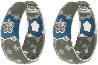 Ralph Lauren G. Adams G Adams Enamel Huggie Hoop Earrings withFlower Design