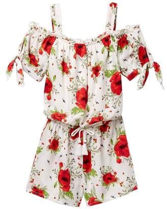 My Michelle mymichelle Floral Print Off Shoulder Romper (Big Girls)