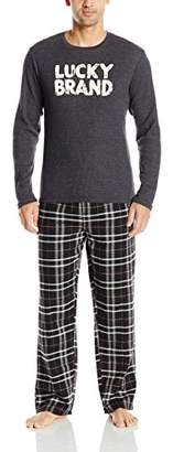Lucky Brand Men's Giftset: Long Sleeve Thermal Crew and Flannel Pant