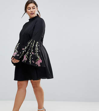 Asos Fluted Sleeve Embroidered Skater Mini Dress