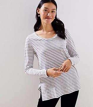 LOFT Petite Striped Long Sleeve Tunic Tee