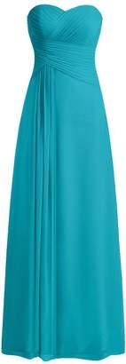 JAEDEN Long Bridesmaid Dresses Chiffon Sweetheart Prom Evening Gown Strapless Pleat M