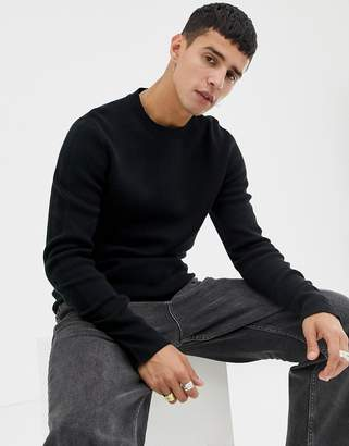 Jack and Jones crew neck knitted sweater in black