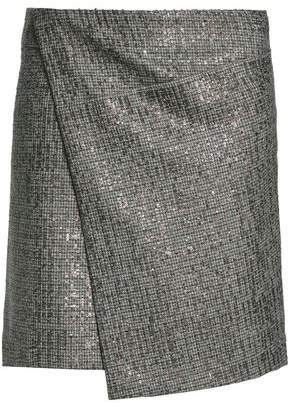 Brunello Cucinelli Asymmetric Embellished Houndstooth Wool Mini Skirt