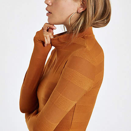 Womens Rust high neck ribbed jumper