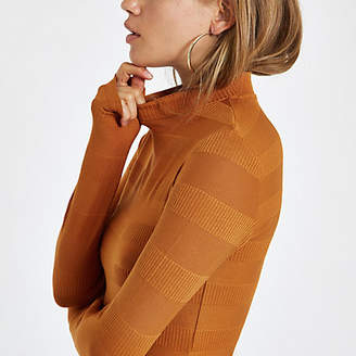 River Island Rust high neck ribbed crop sweater