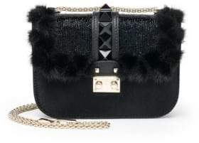 Valentino Rockstud Lock Mini Leather & Fur Shoulder Bag