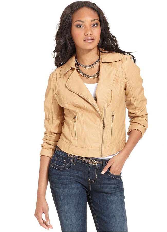 GUESS Jacket, Long-Sleeve Faux-Leather Motorcycle