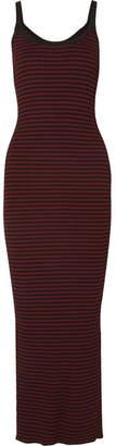 McQ Striped Ribbed-knit Maxi Dress - Black