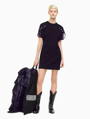 Calvin Klein heavy cotton twill bicolor diner dress
