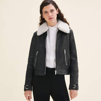 Maje Sheepskin collar aviator jacket