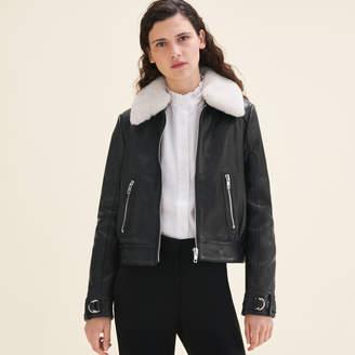 Maje Sheepskin collar aviator jacket