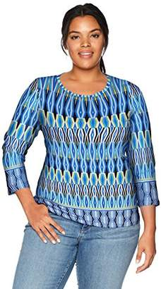 Rafaella Women's Plus Size Printed Embellished Knit Tee