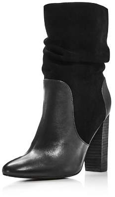 Charles David Women's Round Toe Leather & Suede High-Heel Booties