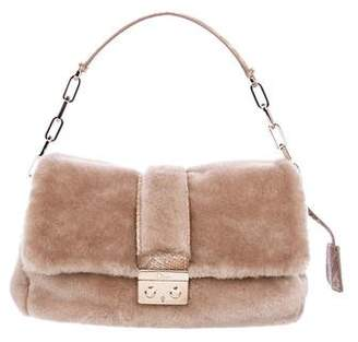Christian Dior Snakeskin-Trimmed Shearling Bag