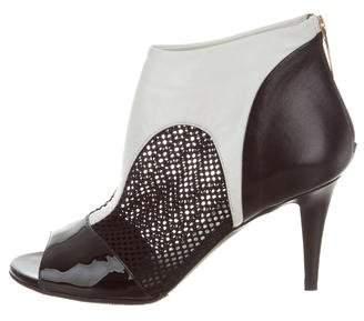 Tamara Mellon Leather Peep-Toe Ankle Boots