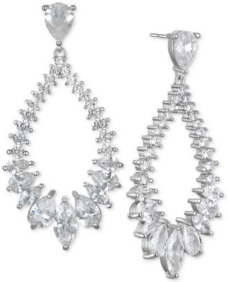 Badgley Mischka Silver-Tone Cubic Zirconia Drop Earrings