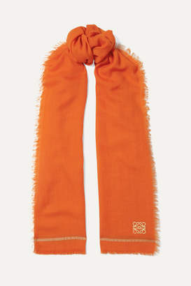 Loewe Embroidered Cashmere And Cotton-blend Scarf - Orange