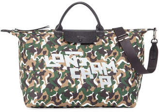 Longchamp Camo Nylon XL Travel Tote Bag