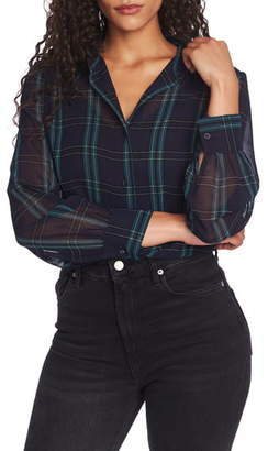 1 STATE 1.STATE Plaid Georgette Button Front Blouse
