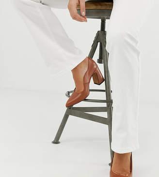 Depp wide fit leather point block heels